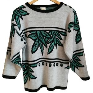 Vintage Leaves Print Green & White Sweater, size M